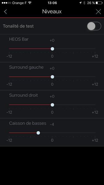 Réglage des niveaux sonores de chaque enceinte du système Home Cinéma
