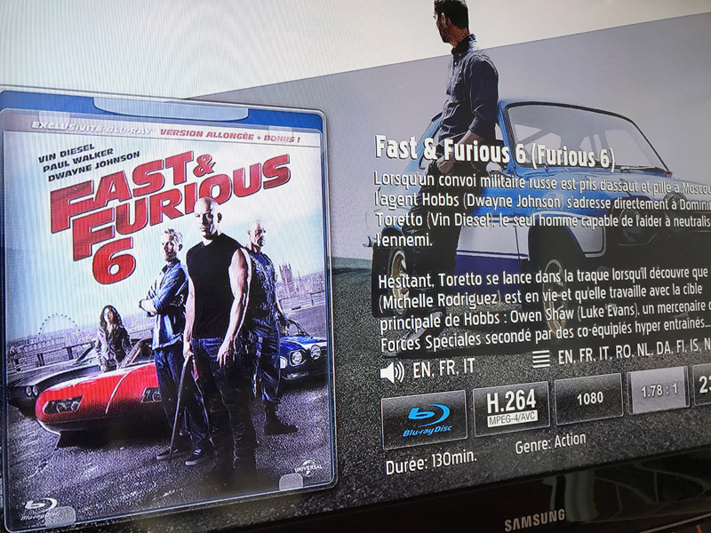 Test avec le Blu-ray Fast & Furious de la barre de son HEOS Bar de Denon