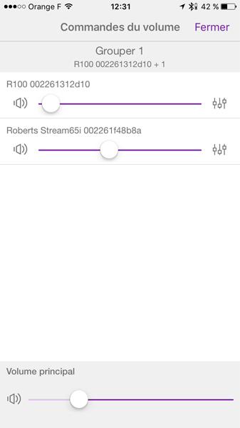 Gestion du volume sonore : individuelle sur chaque produit ou groupé en gardant les proportions initiales