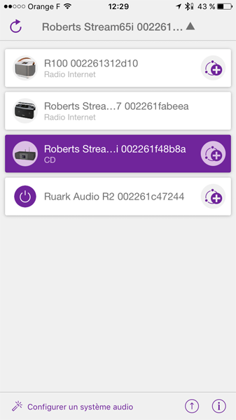 Une télécommande WiFi sur le téléphone, pour grouper plusieurs enceintes / poste de radio et écouter la même source dans plusieurs pièces de la maison par le réseau wifi