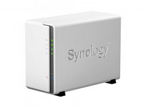 Exemple de système NAS : Synology SqueezeNAS 2D, serveur musical pour stockage de fichiers audio sur disques durs sécurisés en miroir