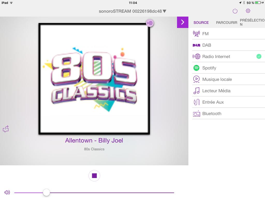 Choisissez la source musicale de votre Sonoro STREAM depuis l'application UNDOK. Disponible sur Android et iOS.