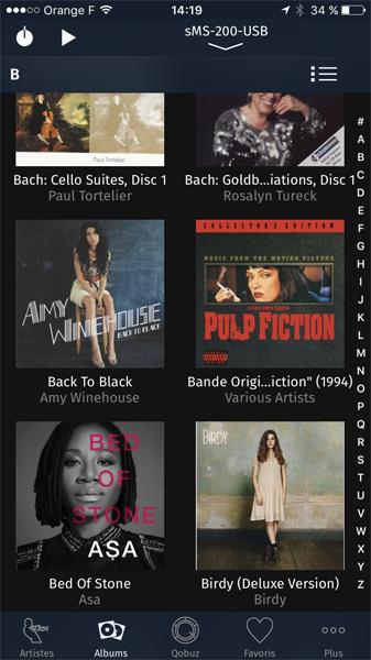 Affichage de toutes les jaquettes des albums de l'audiothèque stocké sur le serveur NAS