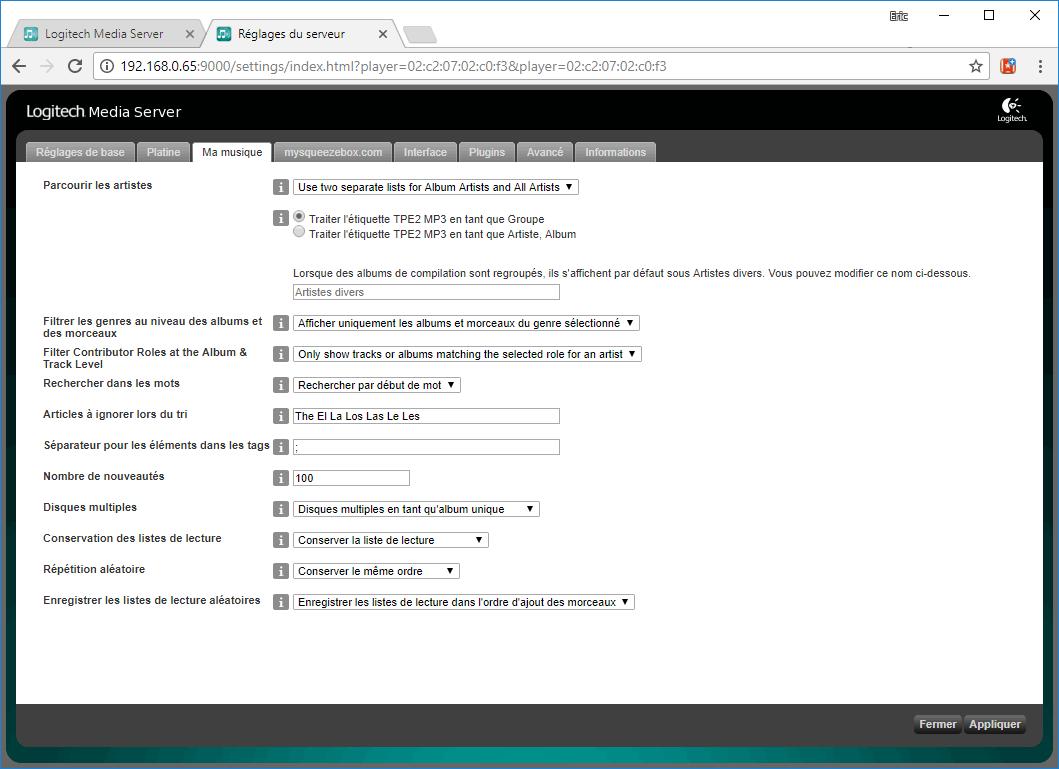 Options pour l'affichage des albums et l'usage des meta-données musicales