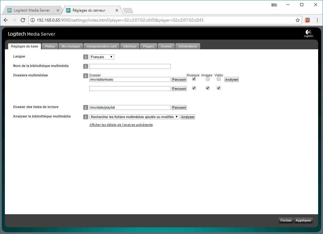 Paramétrage du serveur Squeezelite pour le stockage des fichiers audio