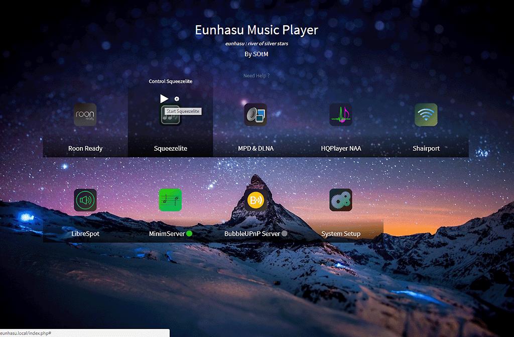 L'interface Web Eunhasu du lecteur HiFi SOtM sMS-200