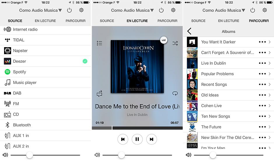 Captures d'écran de l'application Como Control sous iOS