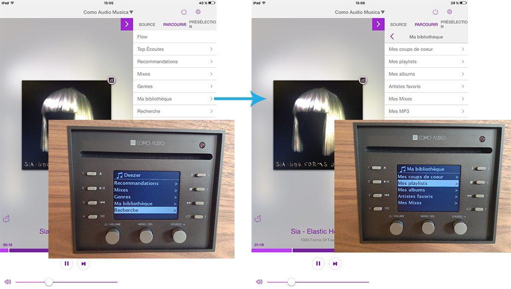 Captures d'écran et prises de vue de l'application UNDOK et de l'écran de l'appareil