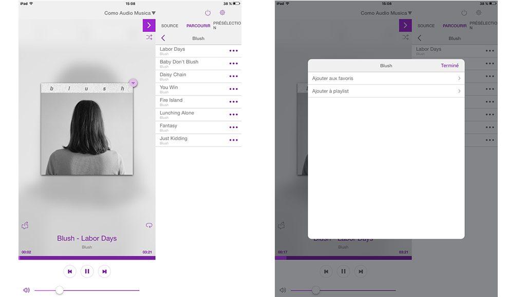 Avec Deezer et Tidal, je peux créer et compléter des Playslists depuis l'application Como Control ou Undok