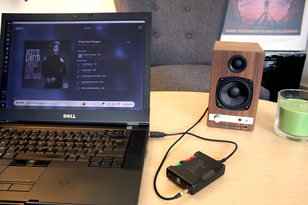 Utilisation du DAC Mojo avec un ordinateur sous Windows et l'application Qobuz : remplace la carte son pour une qualité HiFi et HD