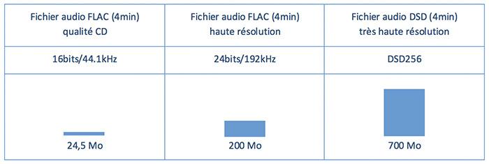 poids fichier audio FLAC Hi-res DSD