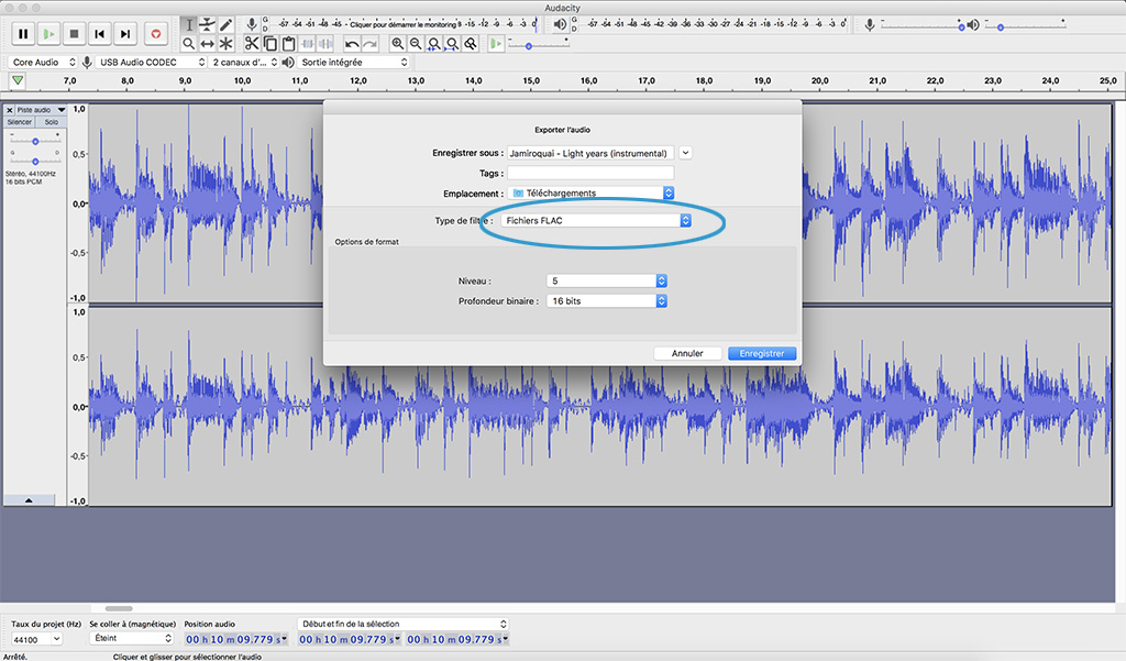 audacity creation fichier audio flac emplacement