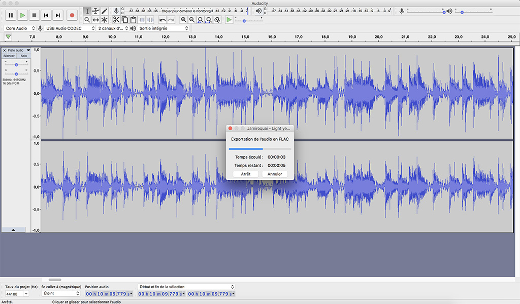 audacity creation fichier audio flac finalisation