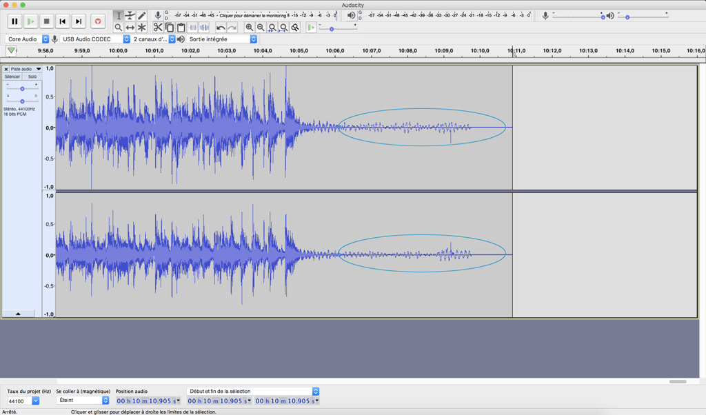 audacity suppression blancs en trop