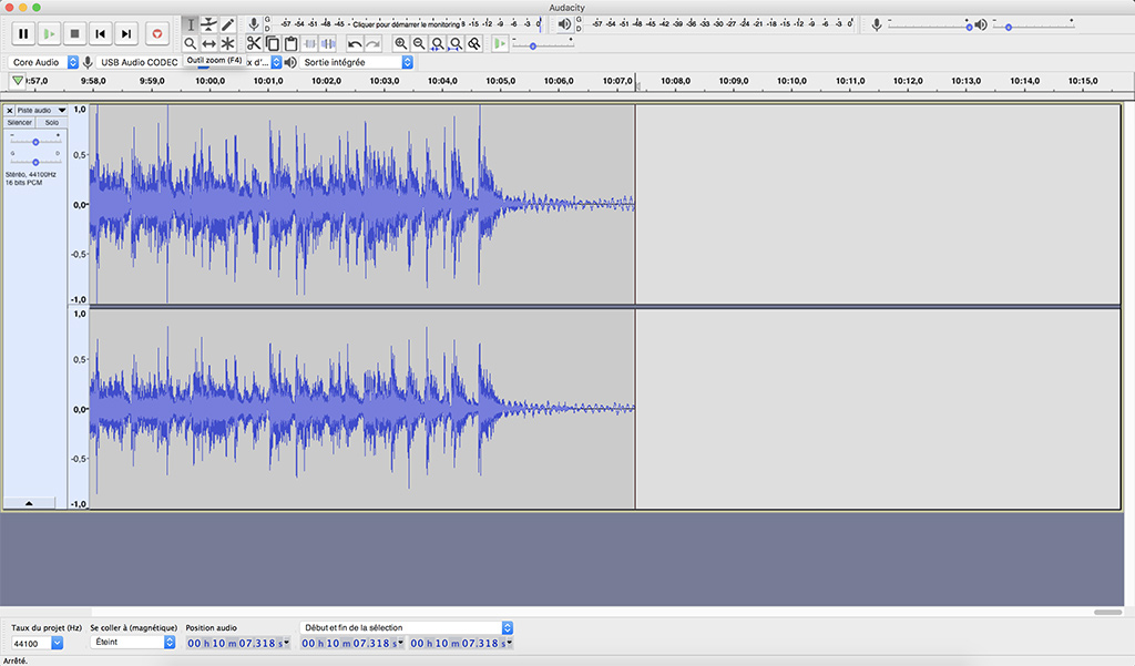 audacity suppression blancs raccourci