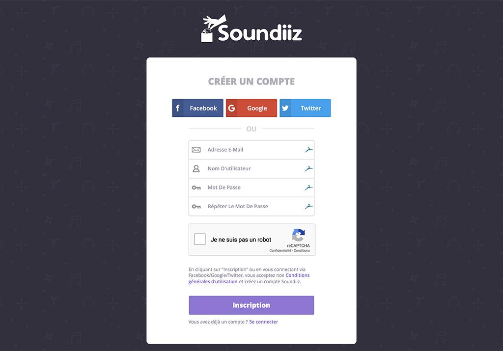 Création de compte Soundiiz pour le transfert de playlists musicales de Deezer vers Qobuz