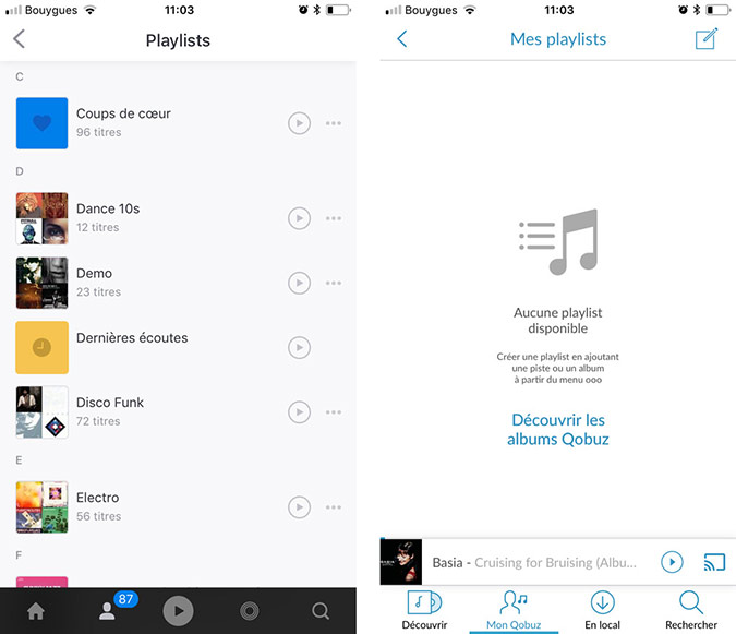 playlists deezer et playlists qobuz differentes