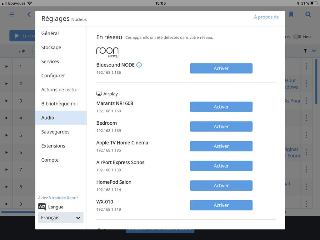 Application Roon : lecteurs trouvés automatiquement sur le réseau.