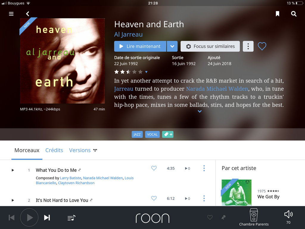 Roon Nucleus : vue album avec de nombreuses informations contextuelles.