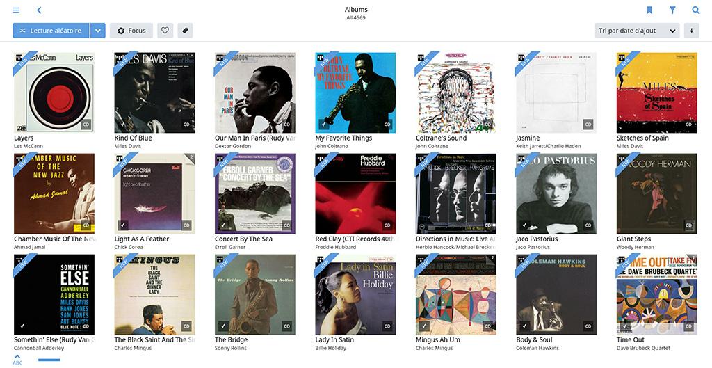 Un des multiples modes d'affichage de sa bibliothèque musicale dans l'application Roon.