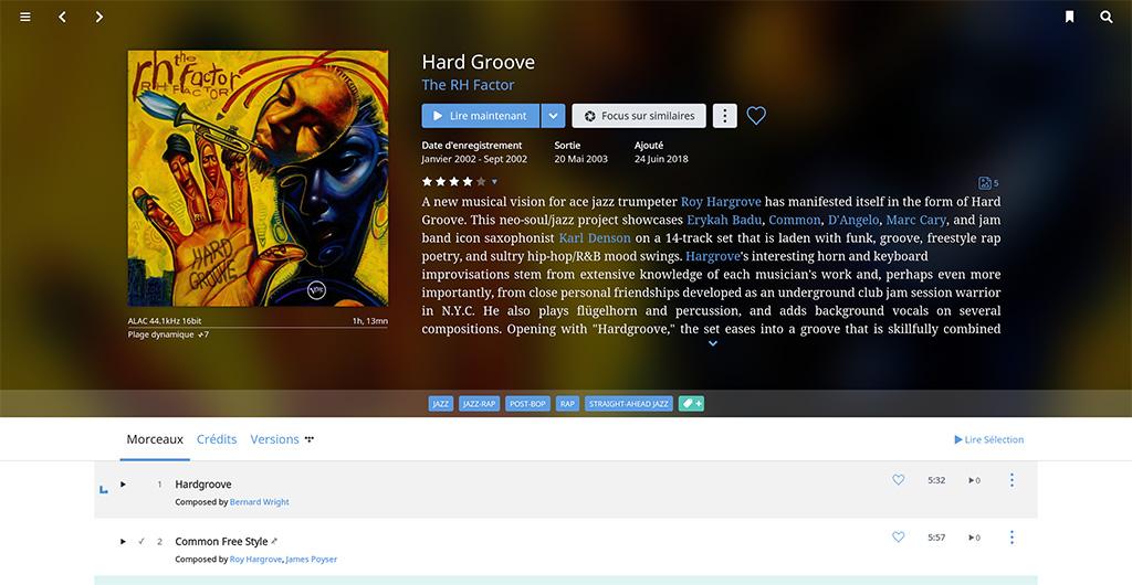 L'écran de lecture en cours Roon donne une multitude de détails sur l'album, l'artiste, les musiciens, etc.