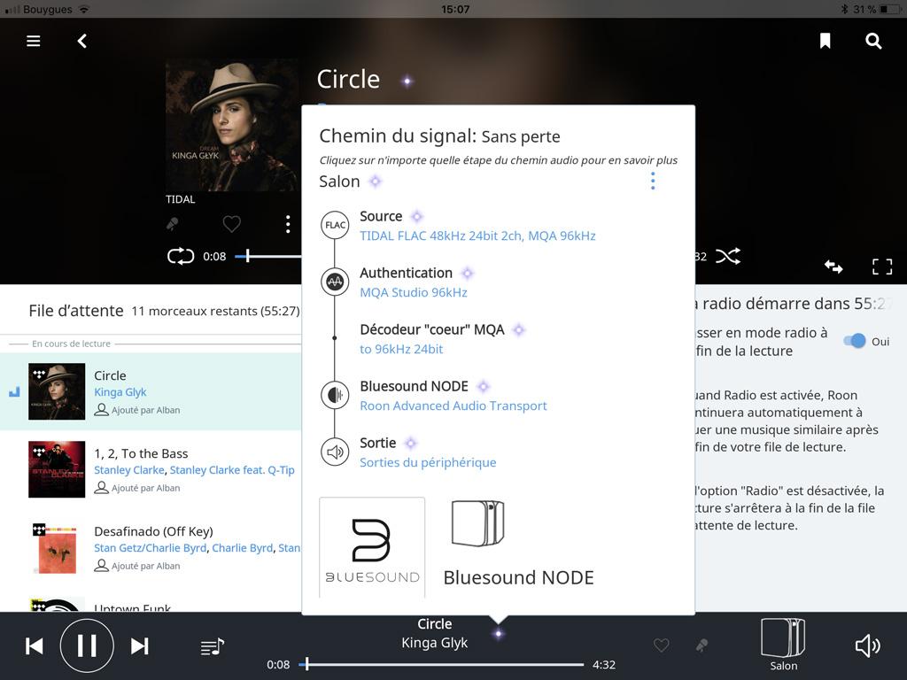 Les lecteurs Bluesound sont Roon Ready, leur icône apparaît dans l'interface.