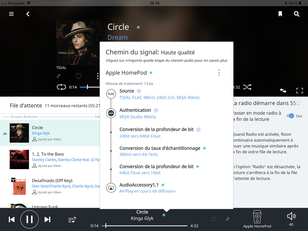 A tout moment, l'interface affiche le transcodage nécessaire d'un morceau, pour pouvoir en profiter sur l'Apple HomePod dans cet exemple.