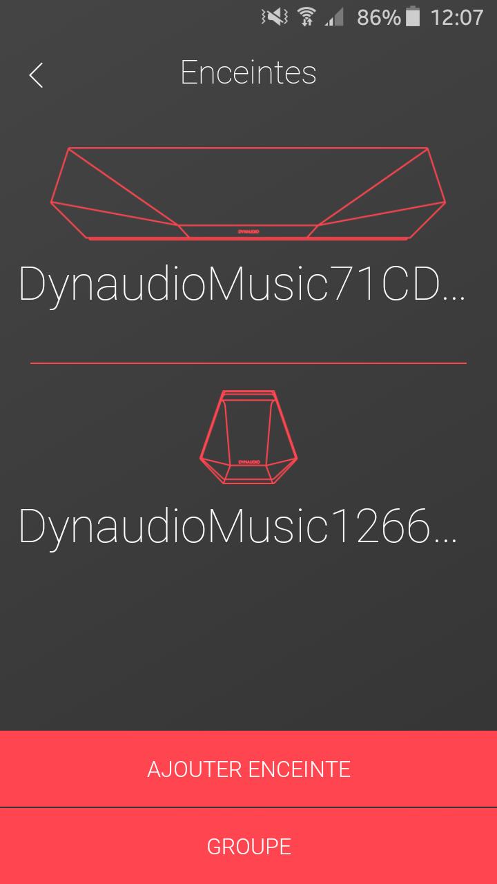 Application Dynaudio : affichage des enceintes sur mon réseau Internet