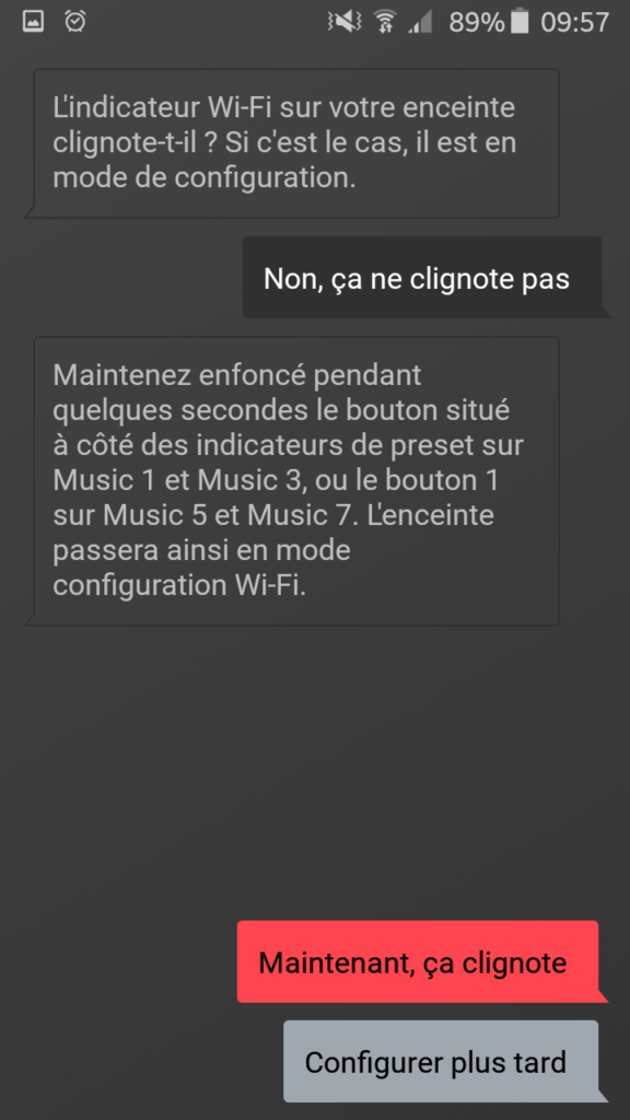 L'assistant de configuration WiFi de l'application Dynaudio MUSIC