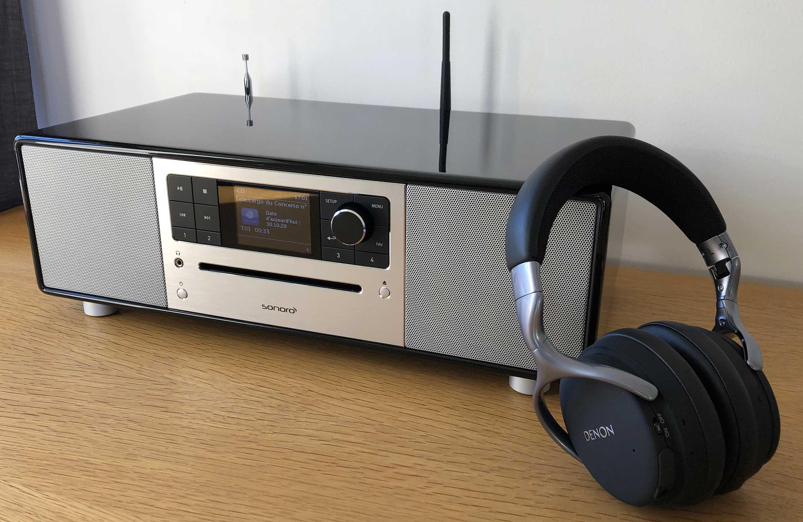Mini chaine HiFi compacte avec écoute au casque sans fil grâce à l'émetteur Bluetooth intégré à la Sonoro PRESTIGE