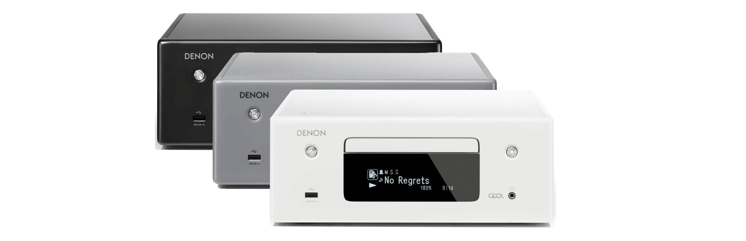 Le Denon Ceol RCD N10 est disponible avec ou sans enceintes, en blanc, gris ou noir pour s'adapter à tous les intérieurs.