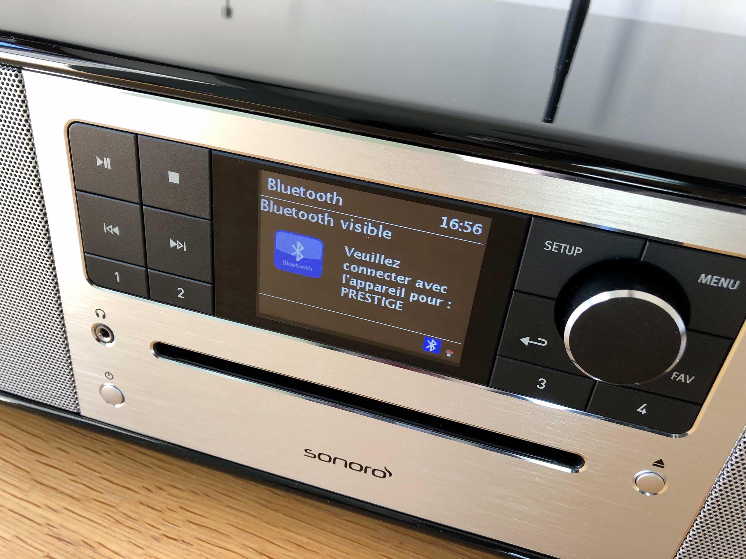 Panneau de contrôle de la mini-chaine hifi compacte sonoro PRESTIGE : wifi, bluetooth et lecteur CD