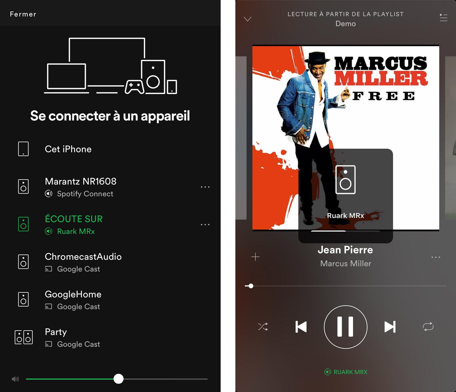 En écoute depuis Spotify, la Ruark MRx apparaît dans la liste. Sur l'écran de droite, je suis bien connecté à l'enceinte, confirmé lorsque je modifie le niveau du volume.