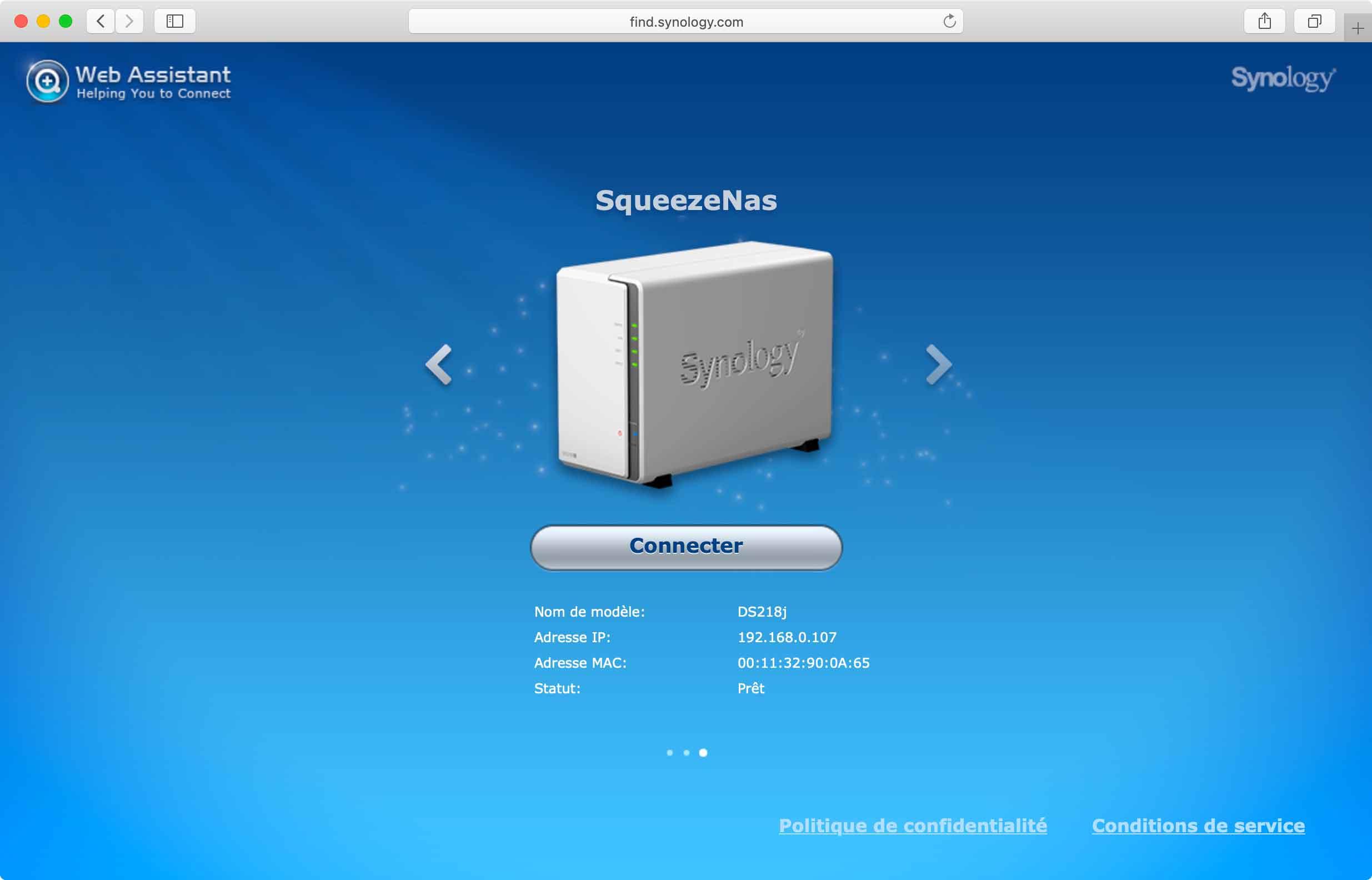 Le DSM : interface WEB de paramétrage d'un NAS Synology