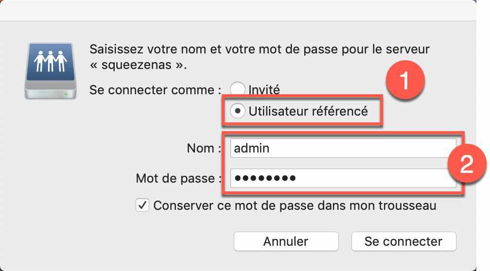 Saisir le compte utilisateur et le mot de passe pour établir la connexion au NAS et accédez aux fichiers stockés