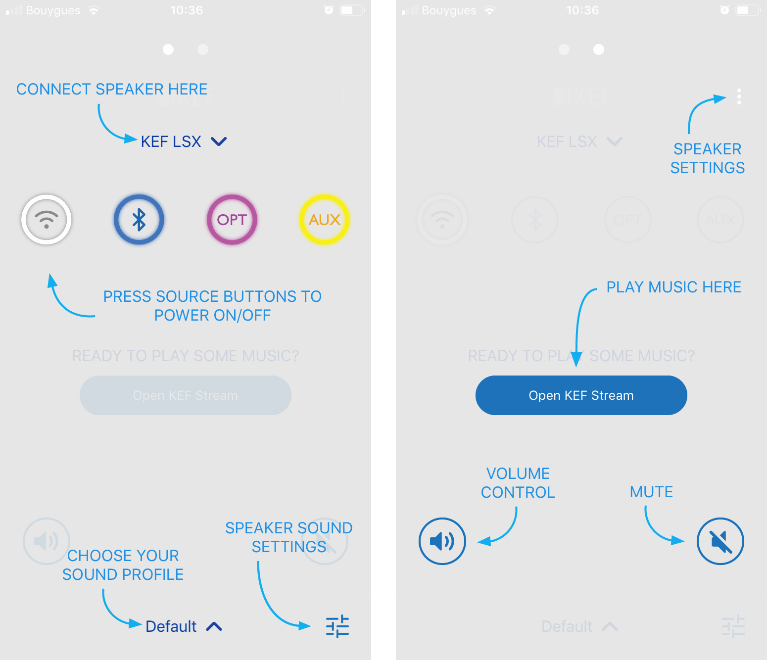 L'application Kef Control permet principalement de passer d'une source à une autre, de régler le volume et d'accéder aux profils d'écoute.