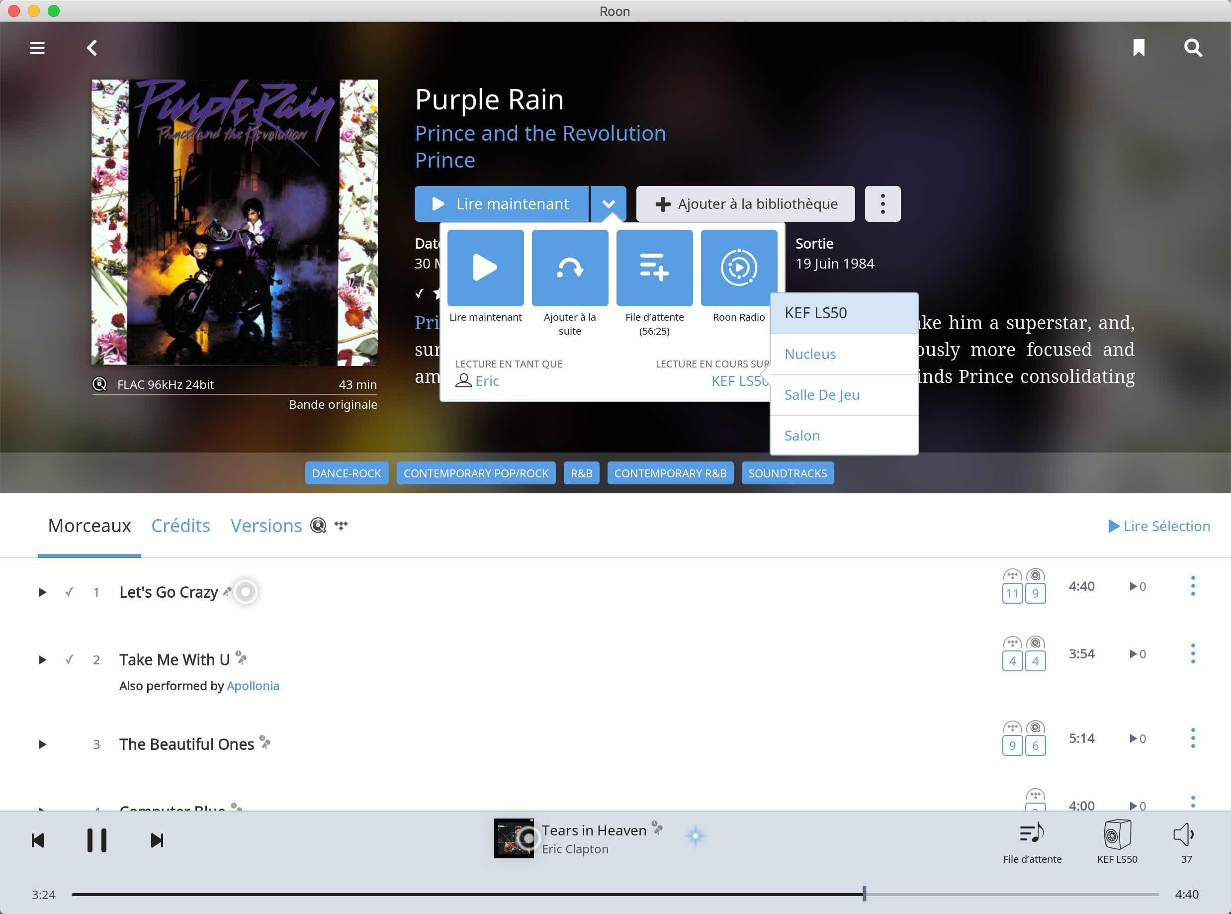L'application Roon sous MacOS permet de piloter toutes les enceintes connectées et les lecteurs HiFi réseau compatibles Roon : KEF, Bluesound, Sonos, SOtM
