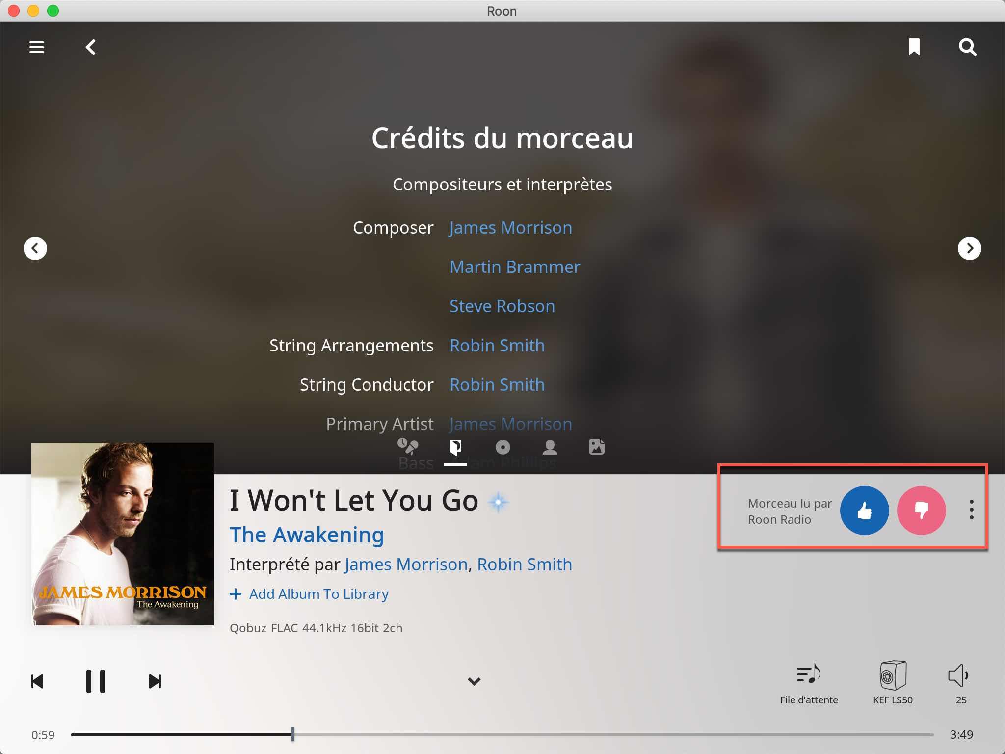 Nouvelle fonction de flux audio continu avec Roon Radio, basée sur les écoutes précédentes et les goûts musicaux
