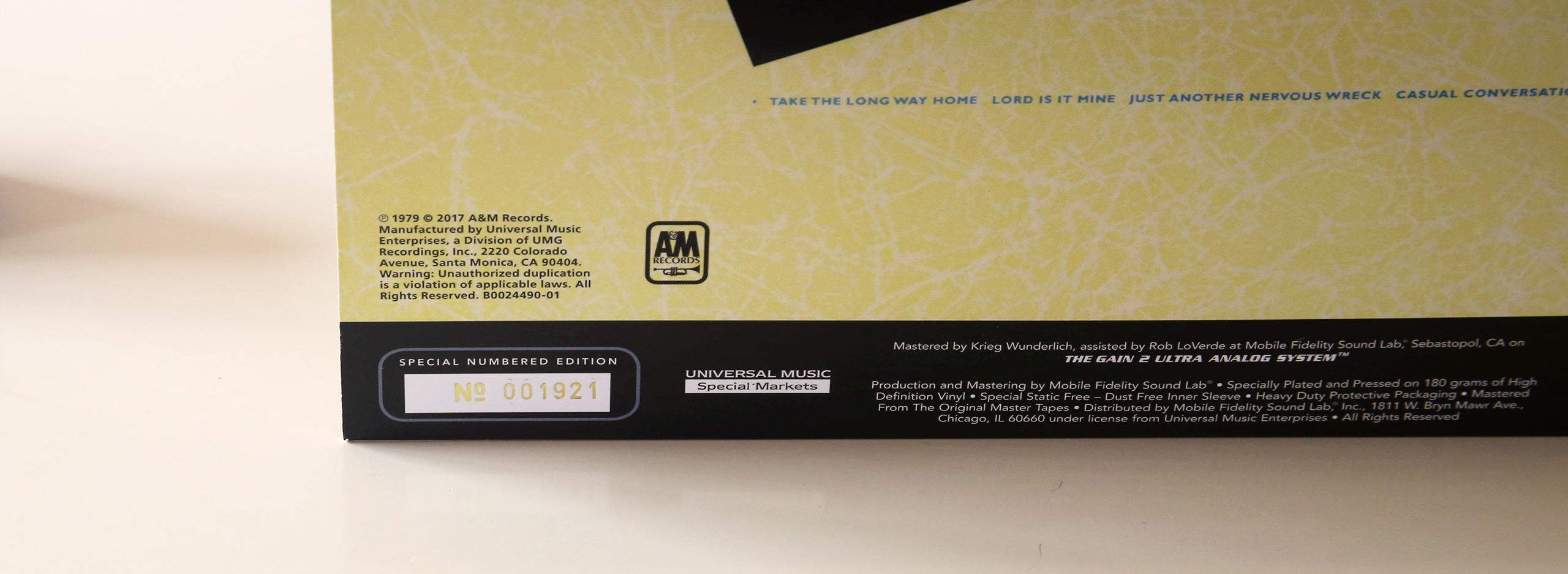 Le disque vinyle Supertramp Breakfast in America est numéroté