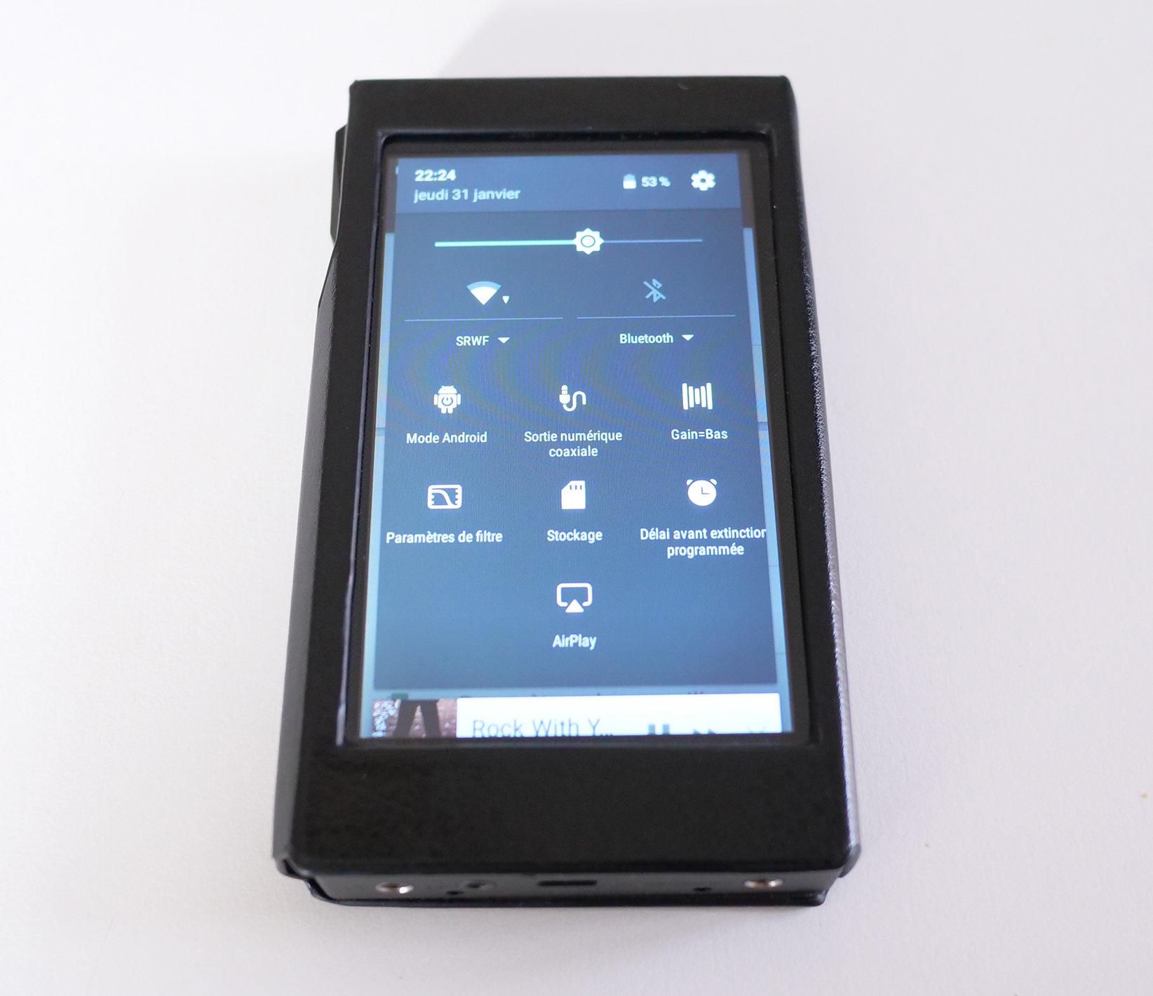 Le menu des paramètres Android est personnalisé avec l'accès direct aux fonctions audio du X5.