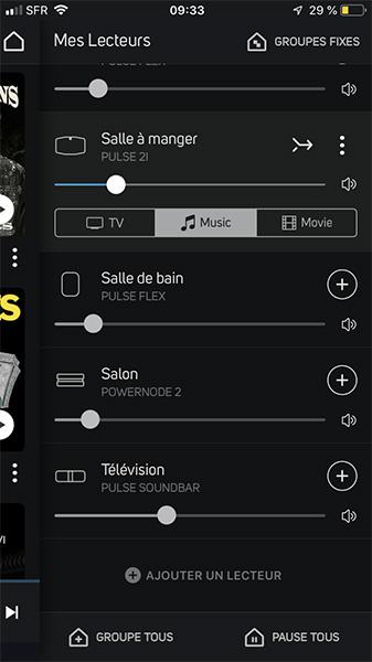 Tous les lecteurs NAD et les enceintes connectées sans fil Bluesound sont accessibles dans l'application