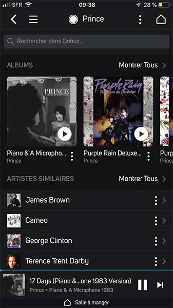 Parcourir un album, son auteur et les artistes similaires depuis l'application BluOS