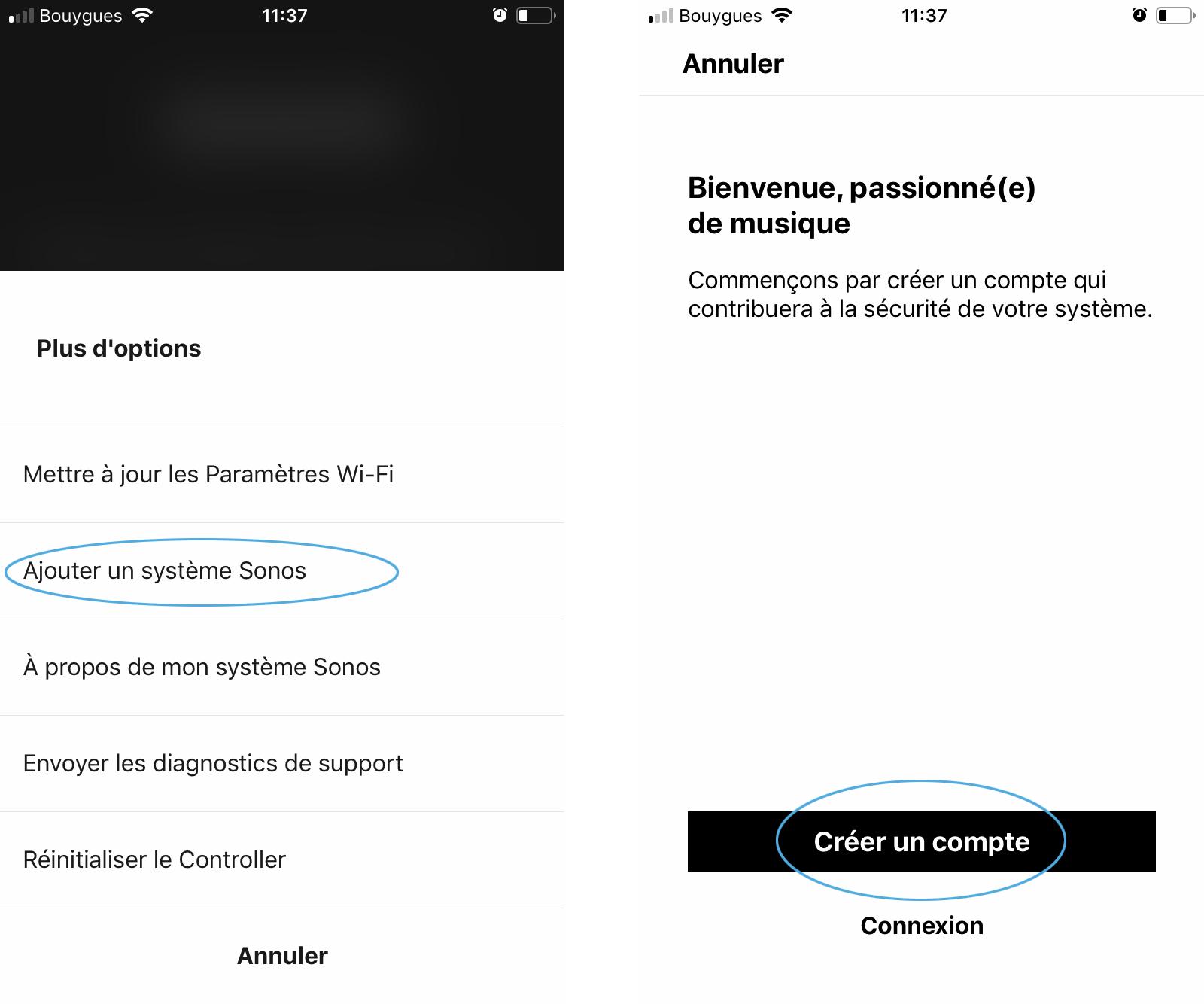 Première utilisation de l'application Sonos - Création d'un compte