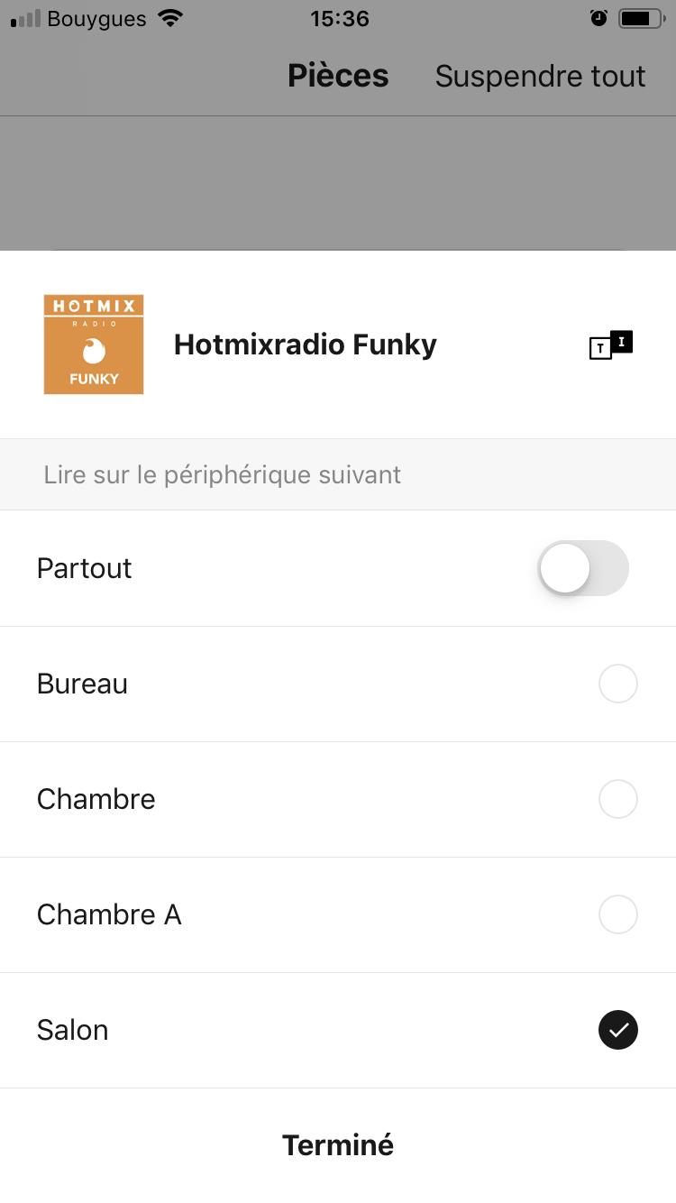 Liste des pièces d'écoute