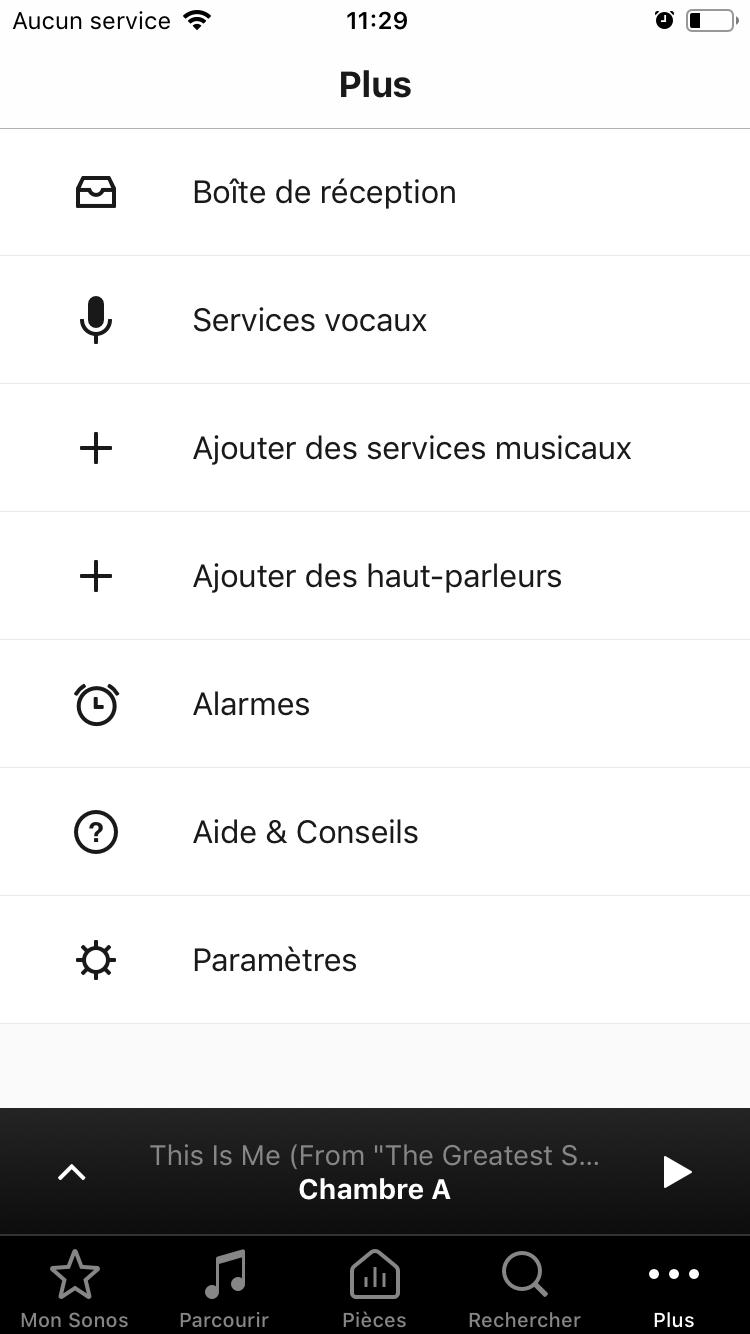 """L'écran """"Plus"""" permet d'accéder aux paramètres du système Sonos"""