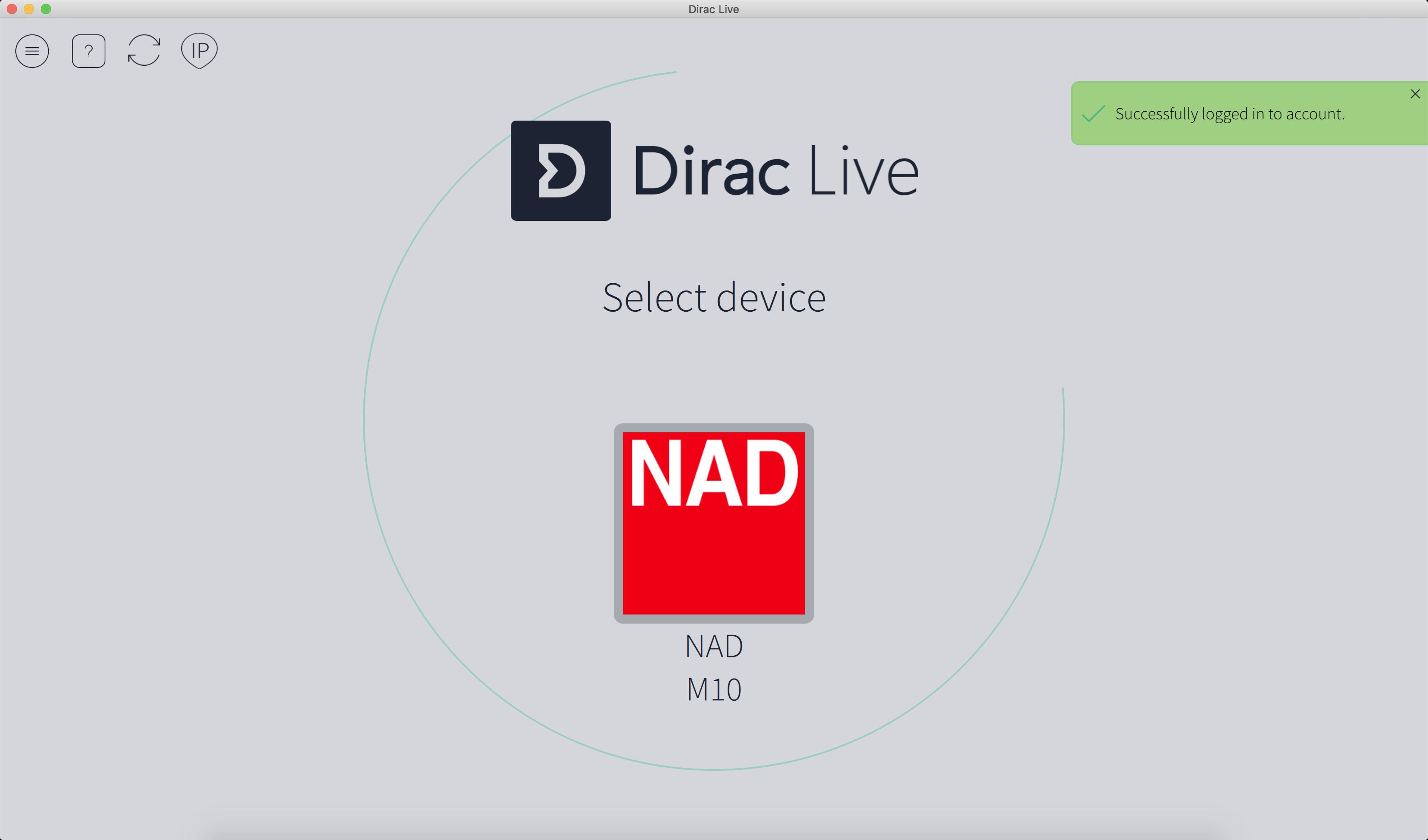 Sélection de l'appareil à calibrer : le NAD M10 dans notre cas.