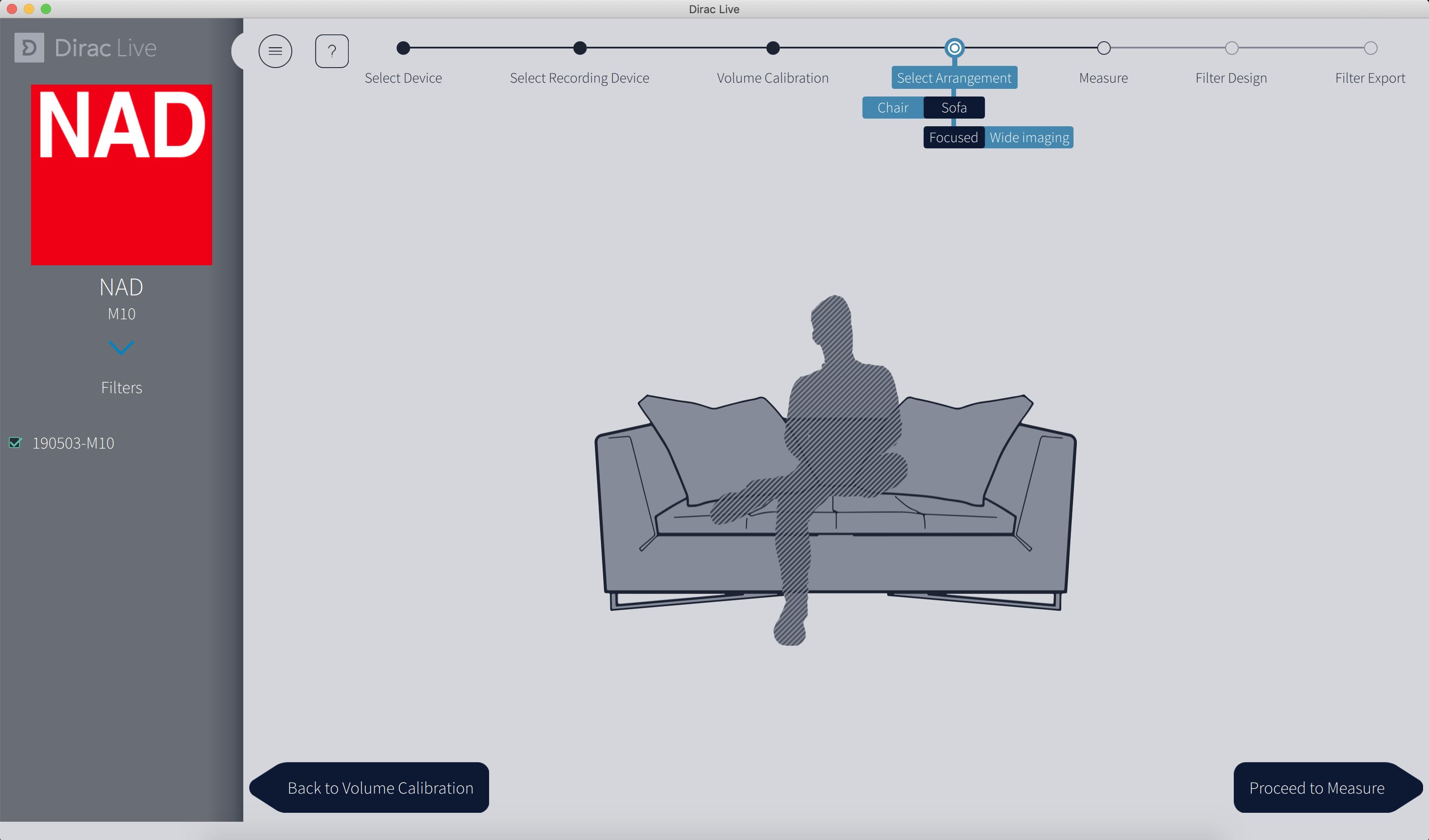 Sélection de la zone d'écoute : un fauteuil, un canapé, un ou plusieurs auditeurs.