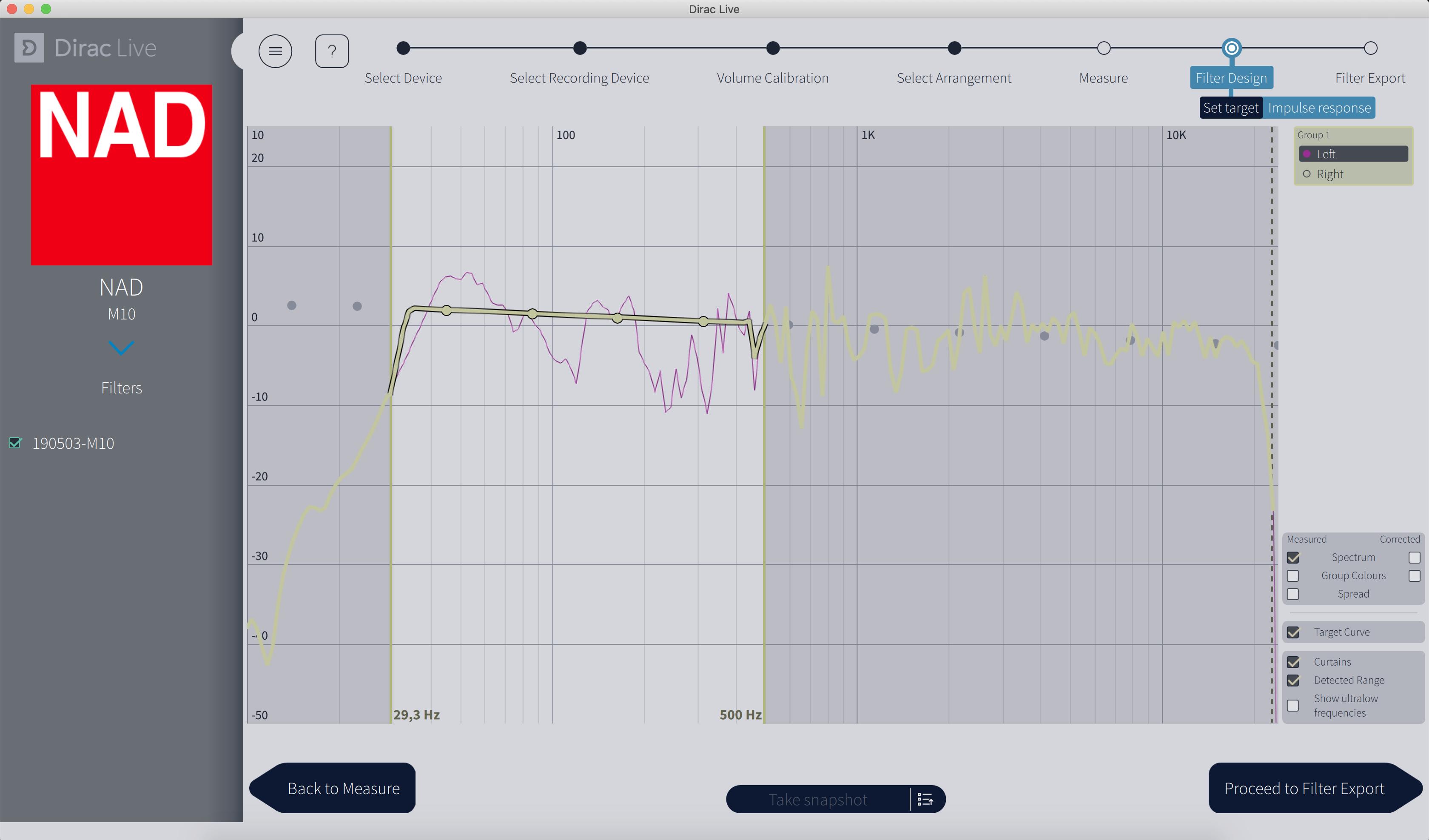 L'interface affiche en rose la mesure prise par le micro. En jaune, c'est l'objectif, c'est-à-dire une courbe où les fréquences sont corrigées et toutes jouées au même niveau. Il est possible de personnaliser l'objectif en faisant bouger les points.