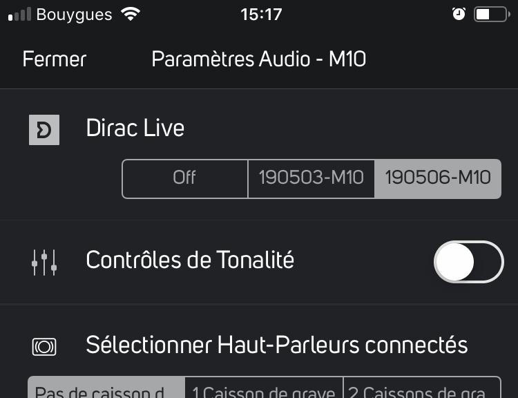 Sur l'écran des réglages audio du NAD M10, la première ligne correspond à l'activation du Dirac. Je retrouve le nom du réglage tel que je l'ai sauvegardé dans le logiciel.