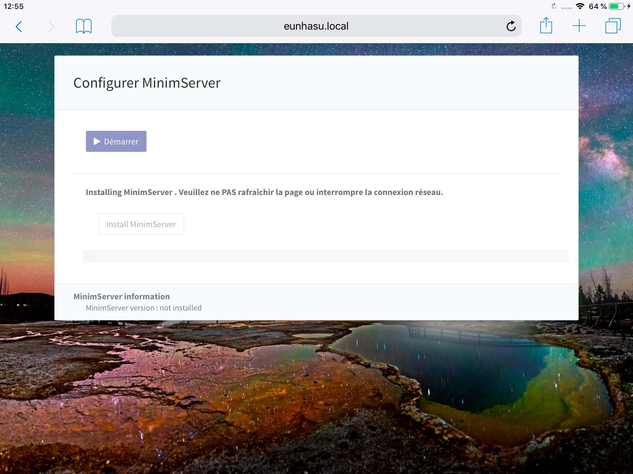Téléchargement du logiciel serveur MinimServer depuis l'interface Web de configuration du lecteur SOtM
